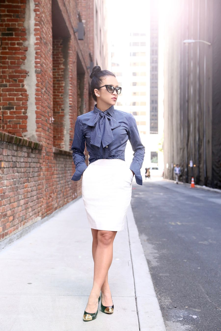 da528cb2cc946a Banana Republic Riley Bow blouse and pencil skirt