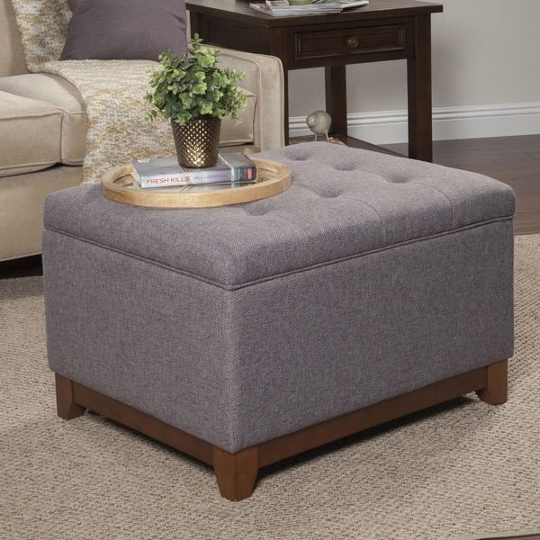 Top Product Reviews For HomePop Charcoal Grey Chunky Textured Storage  Ottoman   Overstock.com