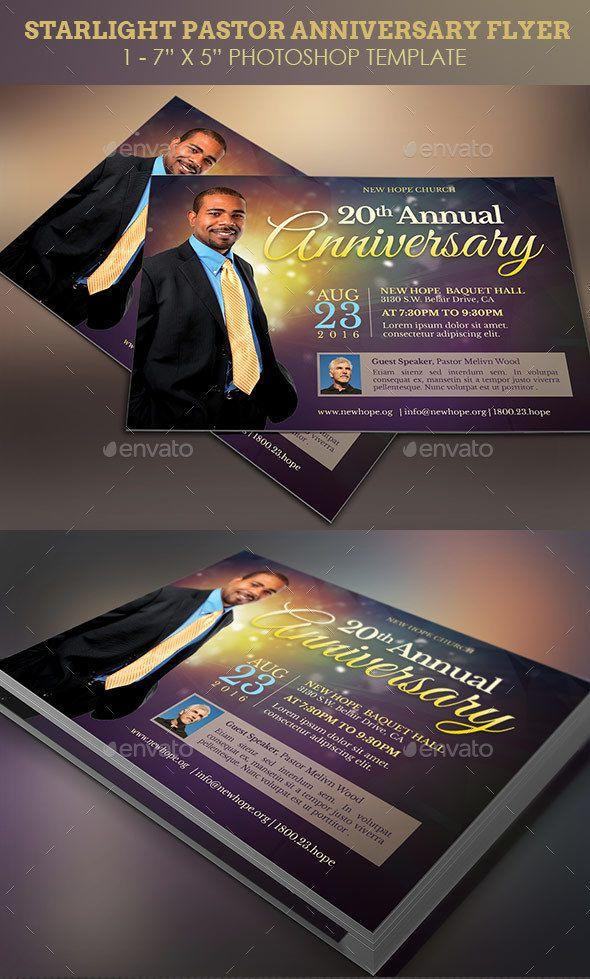Starlight Pastor Anniversary Flyer Template Pastor anniversary - anniversary flyer