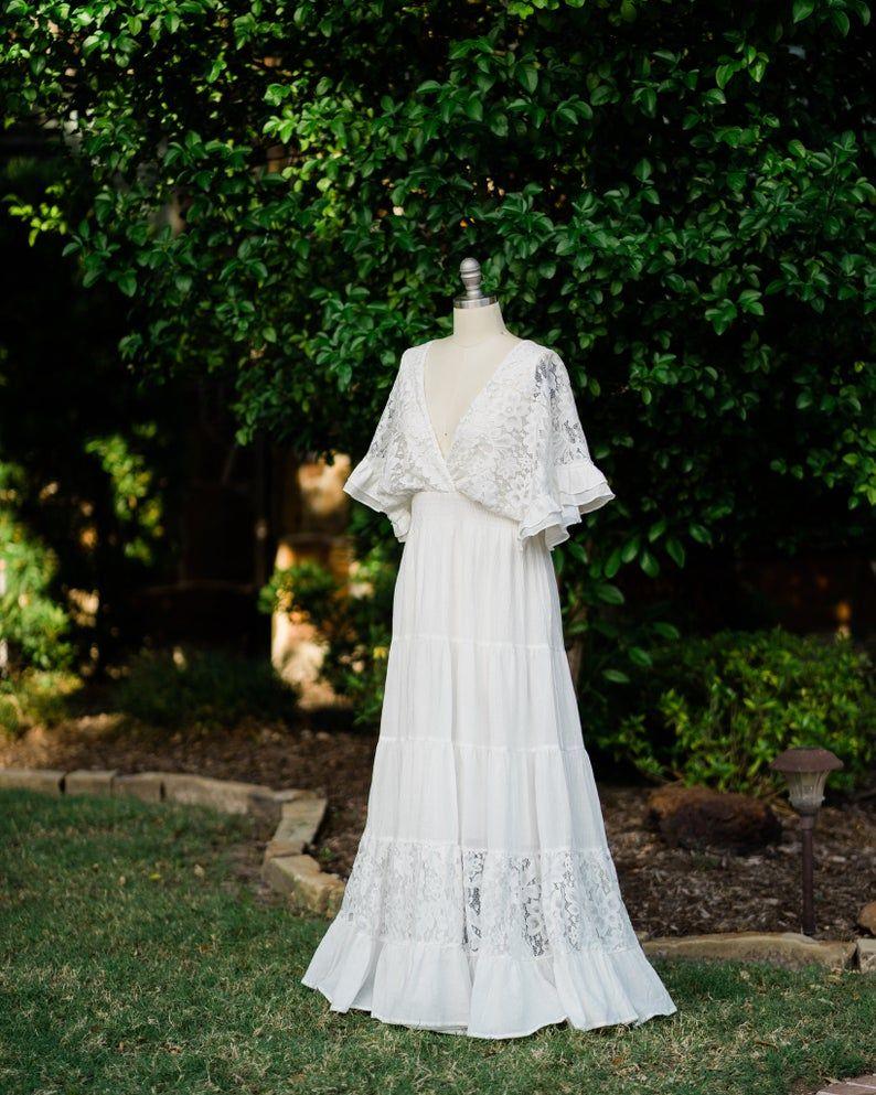 Bohemian Romantic Off Shoulder Vintage Lace Elopement Maxi Etsy Vestidos De Novia Novios Vestidos [ 993 x 794 Pixel ]