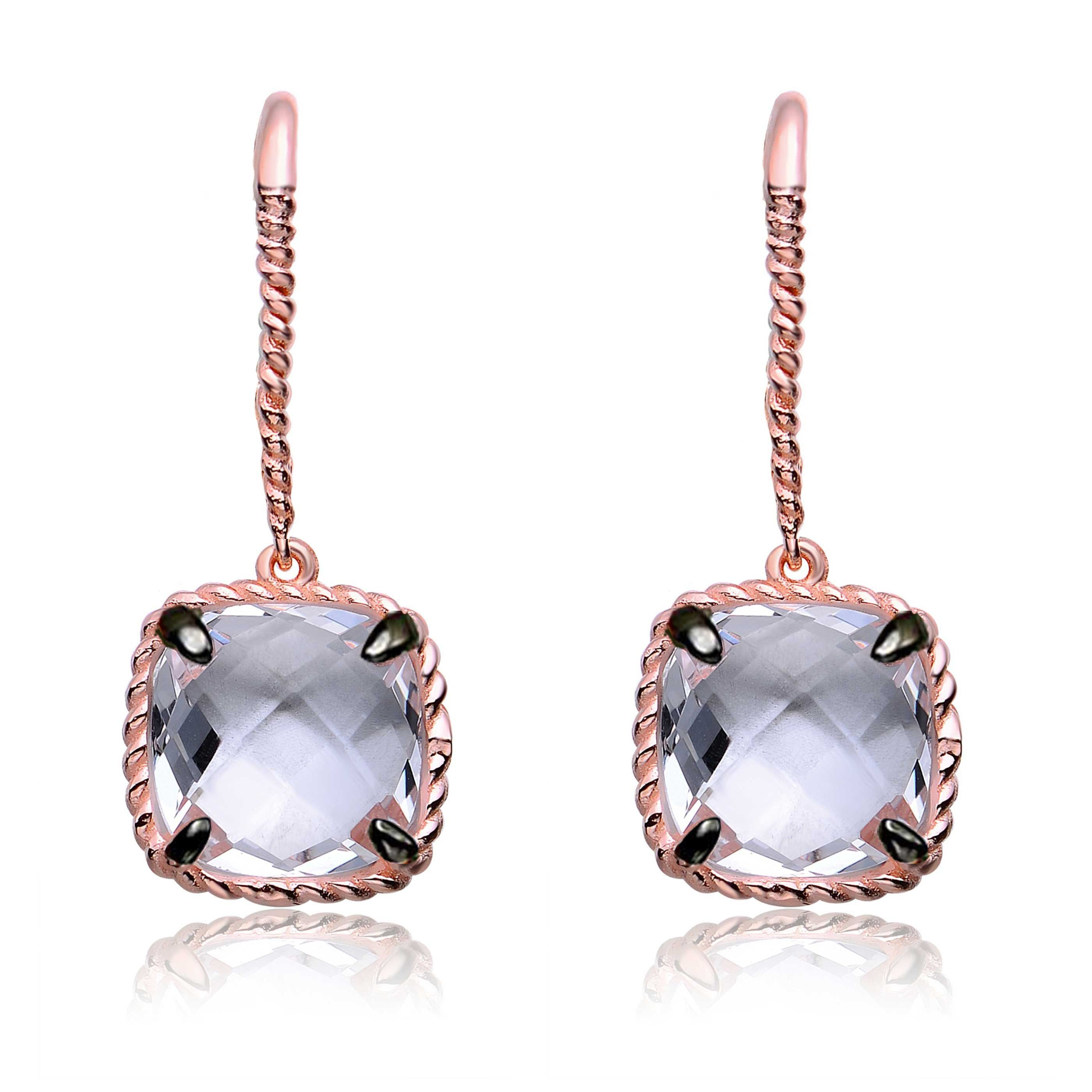 Collette Z Sterling Cubic Zirconia Square Drop Earrings