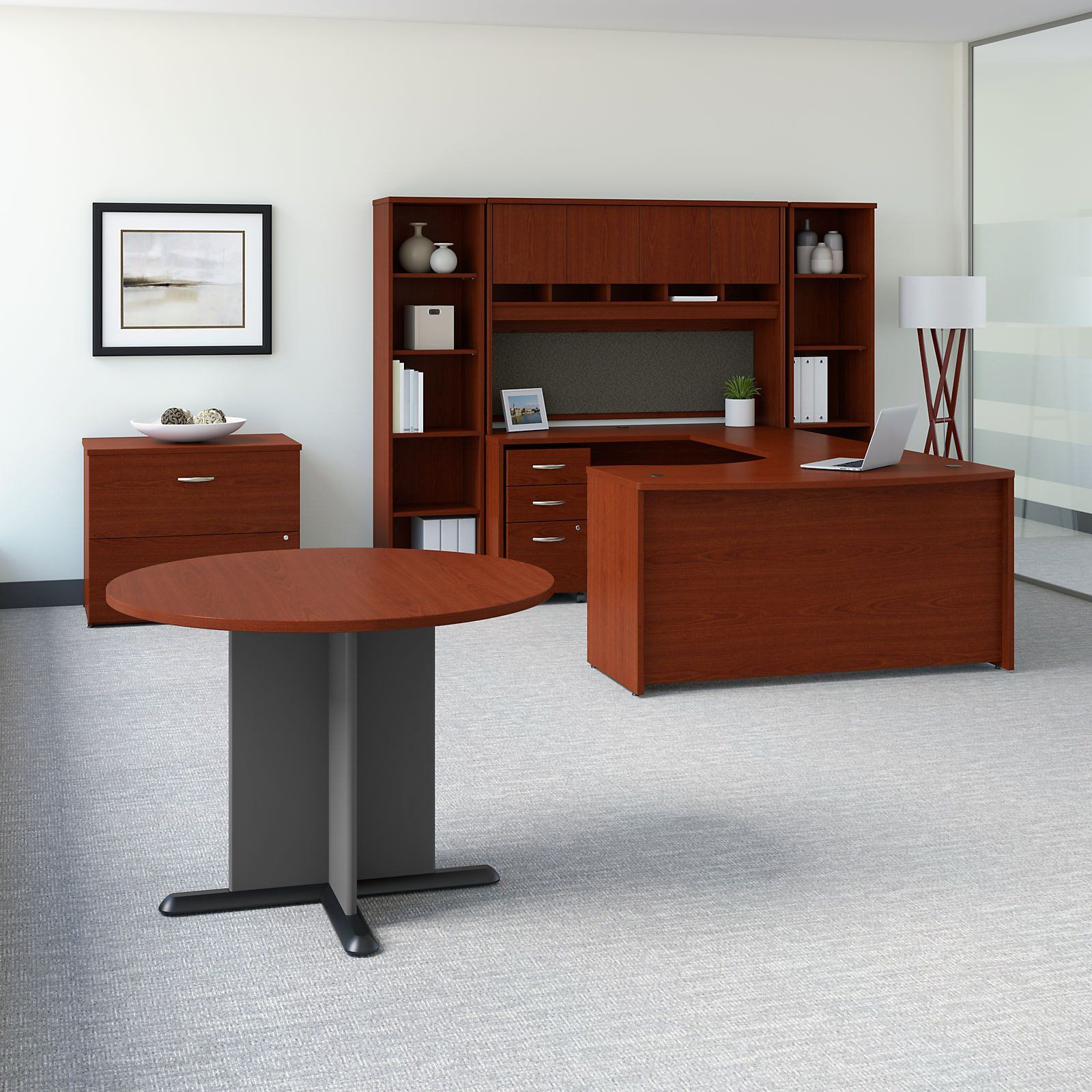 Bush Business Furniture Series C 60 In Right Handed Bow Front U Shaped Desk With Storage And Conference Table With Images Bush Business Furniture Furniture Conference Table