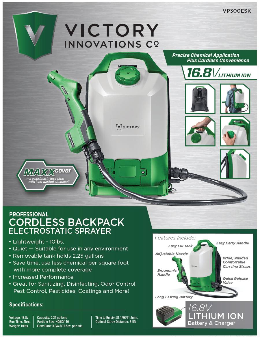 Victory Electrostatic Cordless Backpack Sprayer Vp300esk Pre Order Sprayers Backpacks Easy Fill