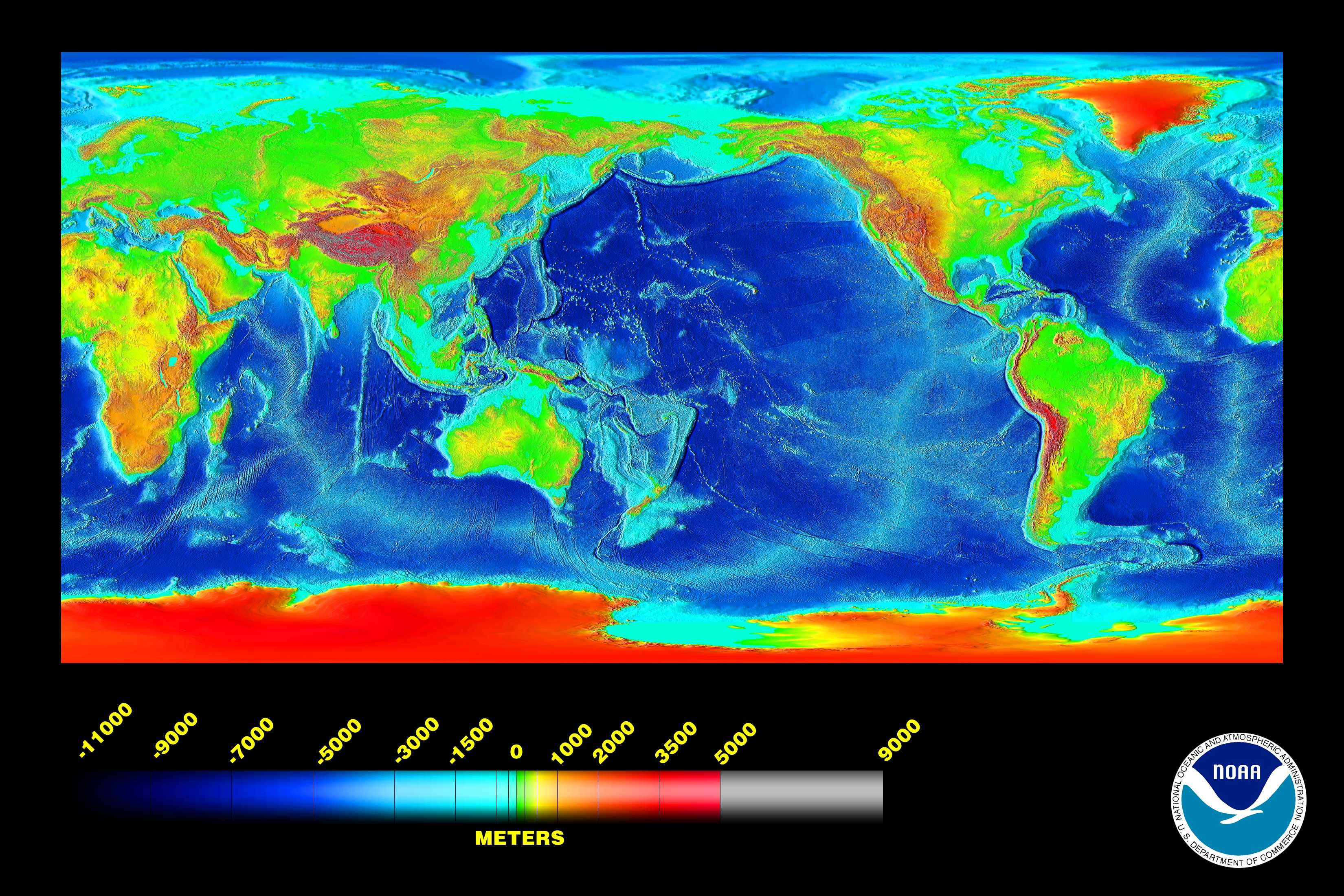 Altitude map of the World   NASA | Interesting : Things in 2019