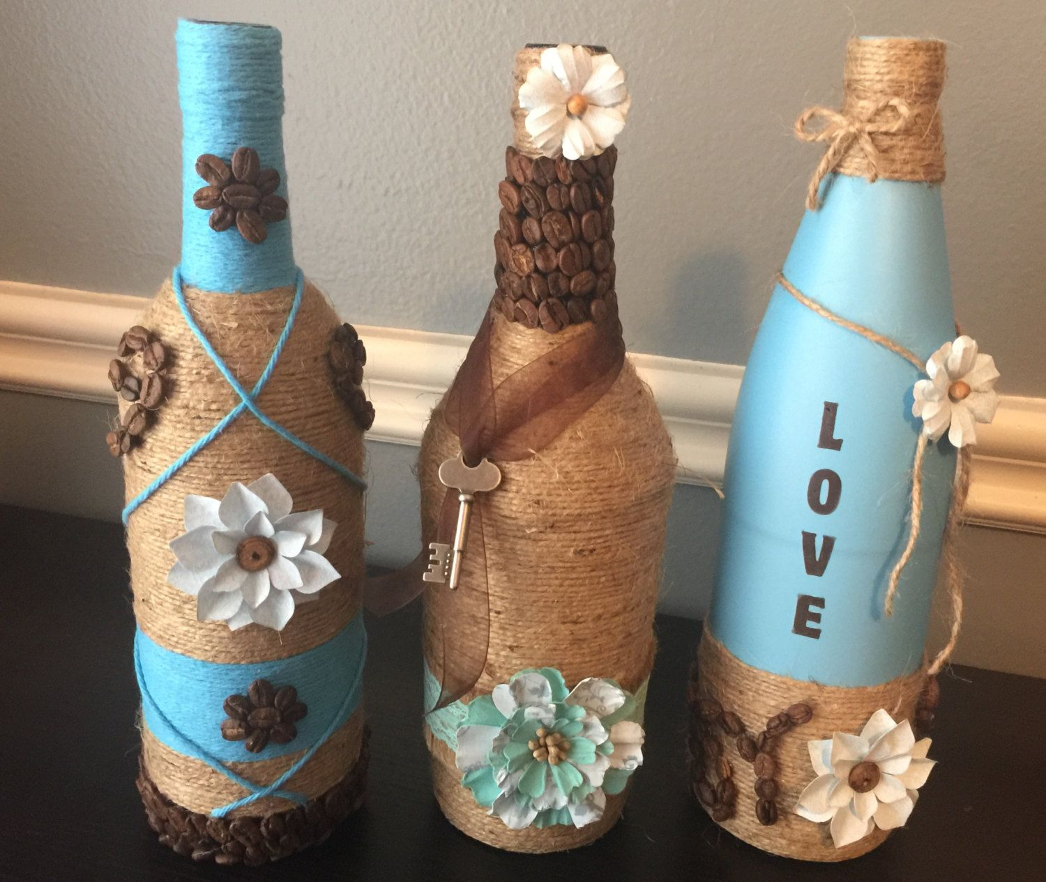 Wine bottle decor coffee bean craft glass bottle art for Wine bottle arts and crafts