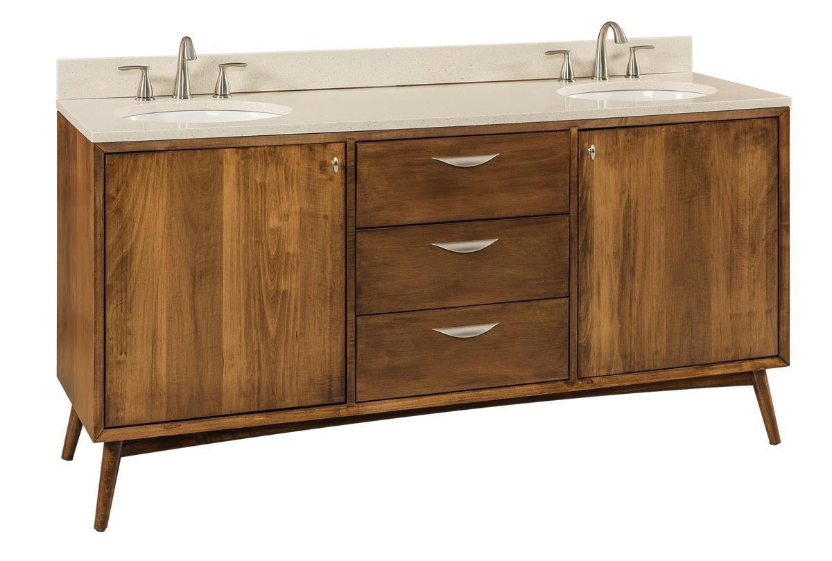 Amish Mid Century Modern Bathroom Vanity In 2020 Mid Century