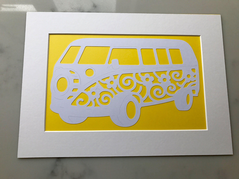 VW Campervan paper cut art - Wall art - VW campervan - A4 mounted ...