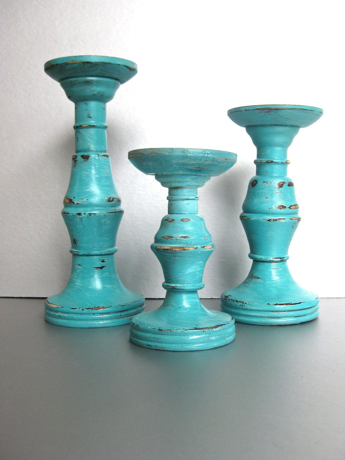 Turquoise Candle Pillars Wood Holders Rustic By Swede13