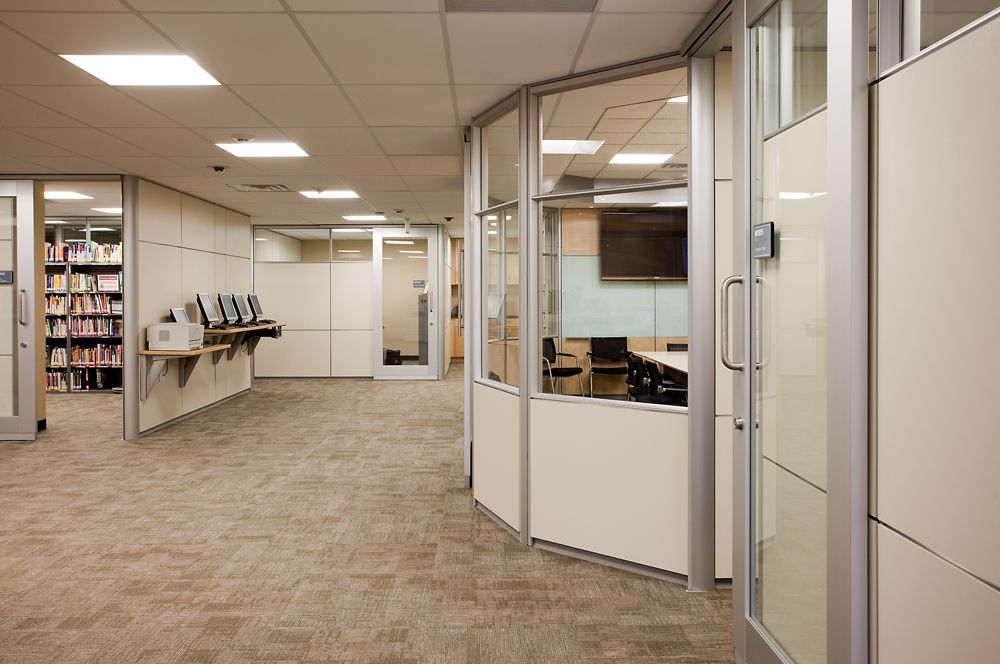 Arapahoe Community College Product Dirtt Glass Fronts With Sliding Barn Doors Combined With Painted Solid Wa With Images Barn Doors Sliding Accent Tile Learning Spaces