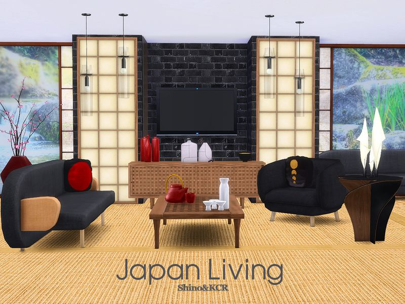 Awesome Livingroom Furniture And Decorative With Japanese Touch Found In TSR  Category U0027Sims 4 Living Room Setsu0027