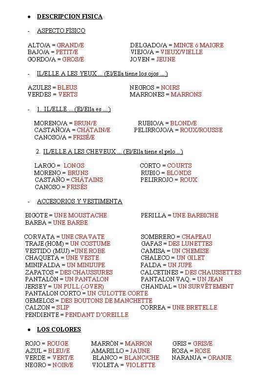 Adjetivos Para Descripción Física En Francés Ejemplos