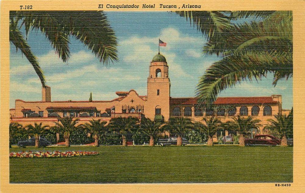 El Conquistador Hotel Tuscon Arizona Linen Postcard