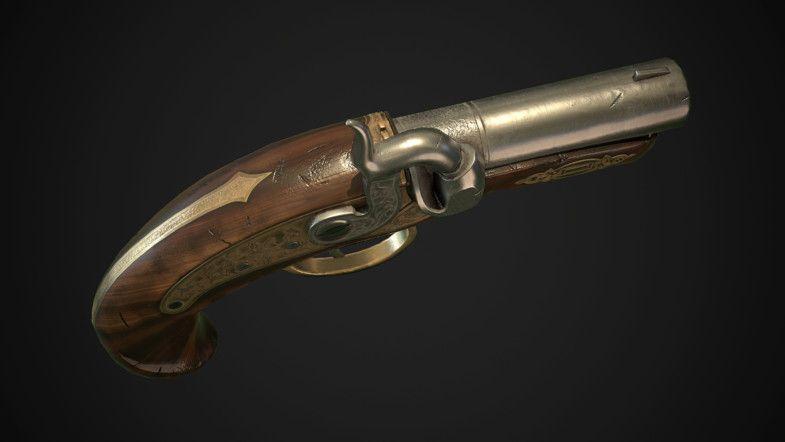 Derringer percussion pistol
