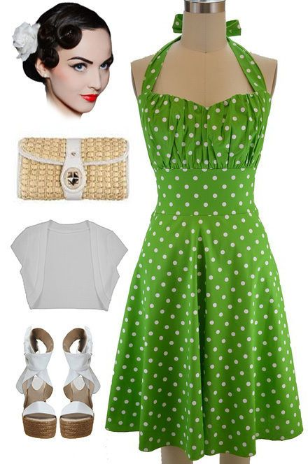 Plus Size 50s Style Green With White Polka Dots Pinup Betty Halter