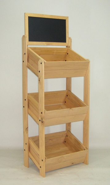 Top 3 Tier Crate Display With Chalkboard   Fruteiras, Madeira e Lojas DY64