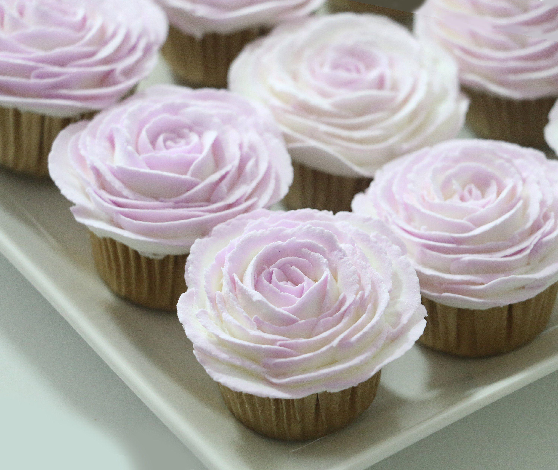 Mini Fake Cupcake with Purple Buttercream Roses Faux