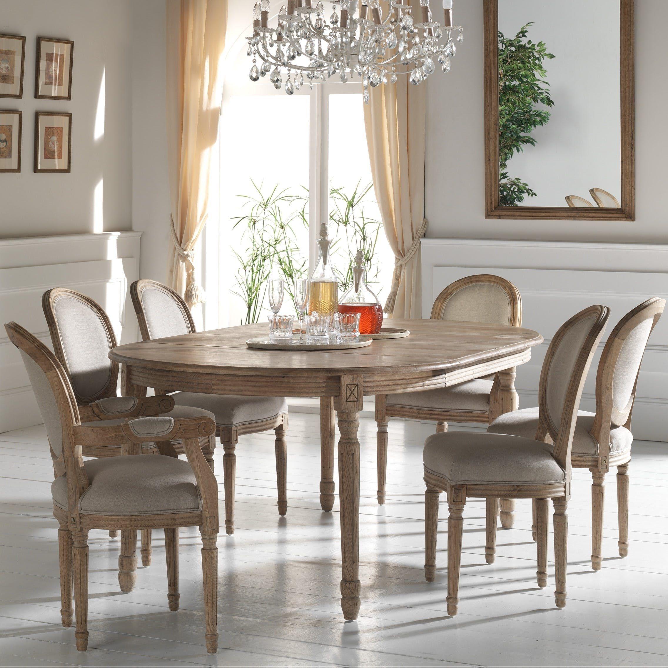 Table Ronde Extensible Suzie Chêne Clair: Table à Manger Extensible Classique Chic Chêne Massif 120
