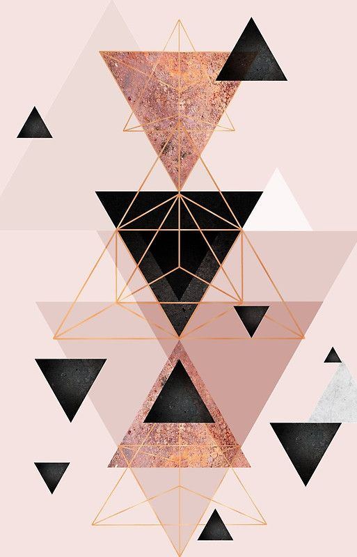 Geometric Triangles In Blush And Rose Gold Iphone Case By