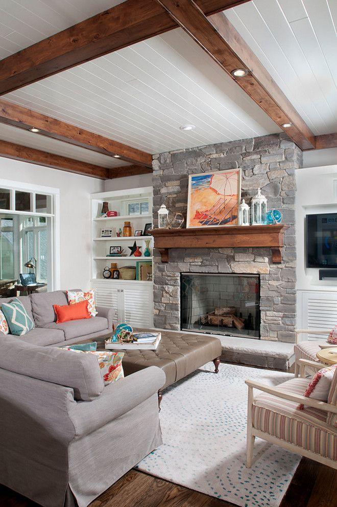 Hickory Hardwood Floors And Alder Wood Ceiling Beams Lend Character Beauteous Hardwood Floors Living Room Exterior