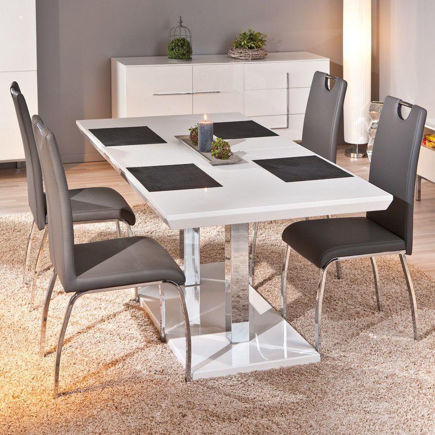 Extendable Dining Table White Metal Wood Rectangular Chrome Gloss