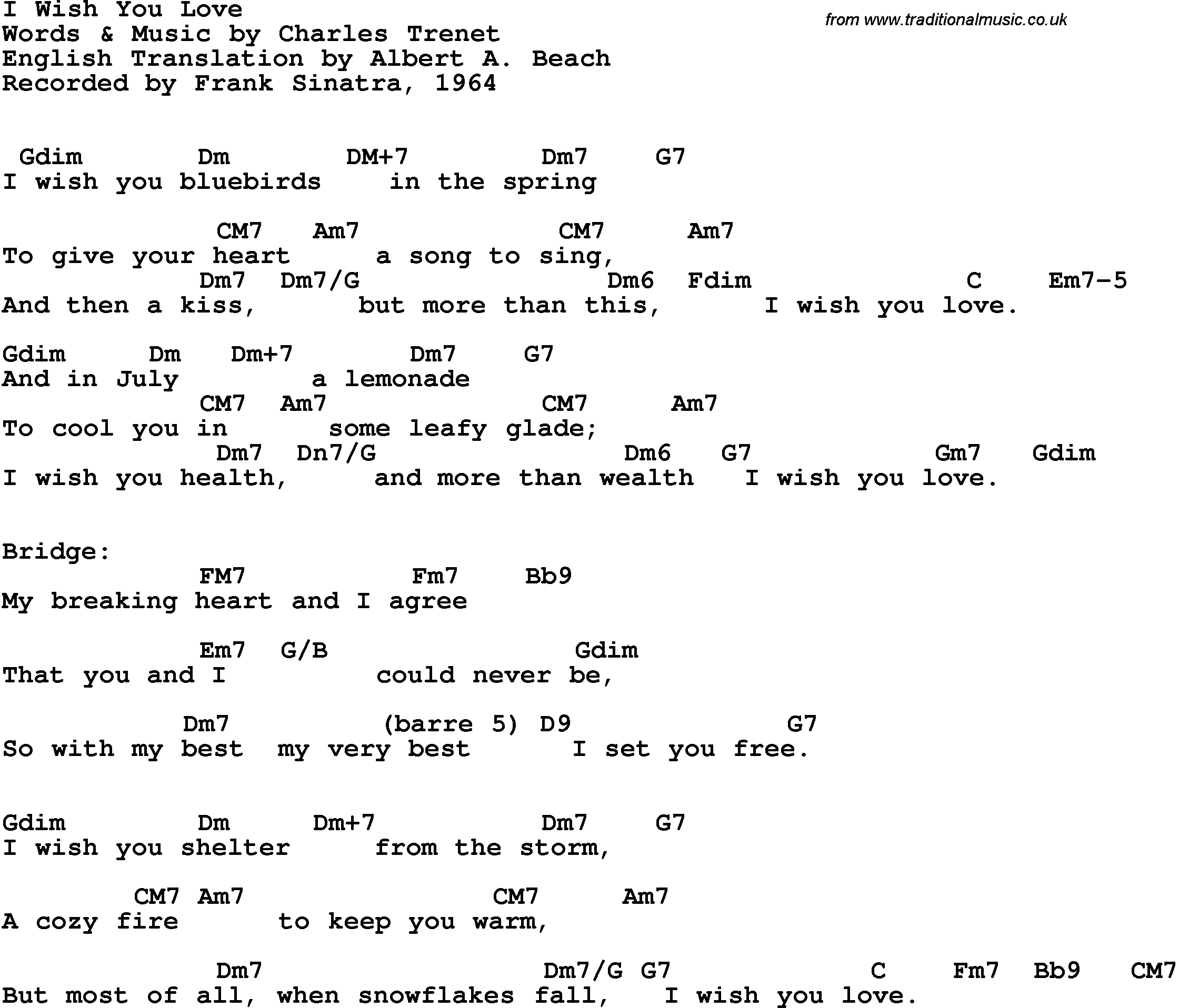 Song Lyrics With Guitar Chords For I Wish You Love Frank Sinatra