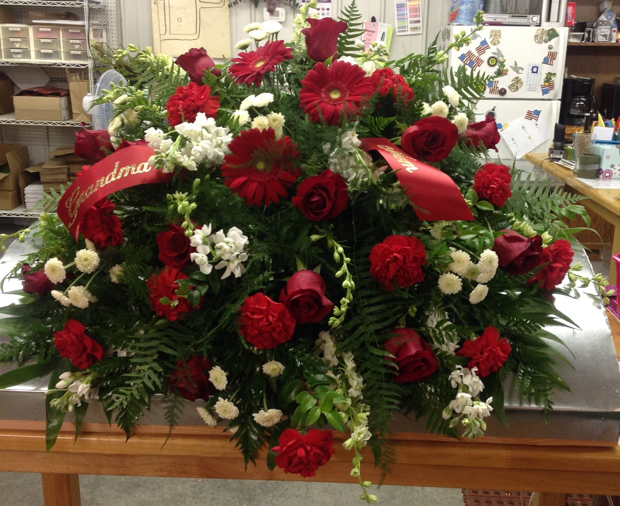 Red White Casket Spray Flowers On Stands Pinterest Funeral