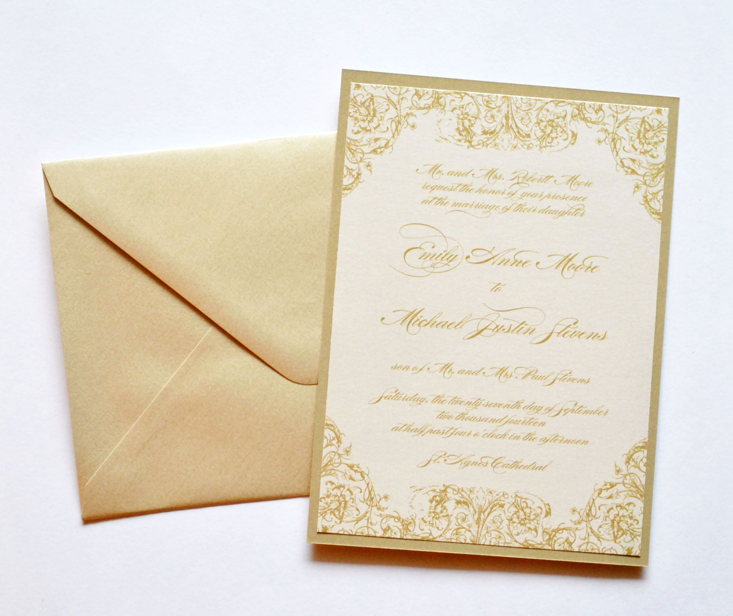 Gold Wedding Invitations, Gold and Ivory Wedding Invitations, Gold