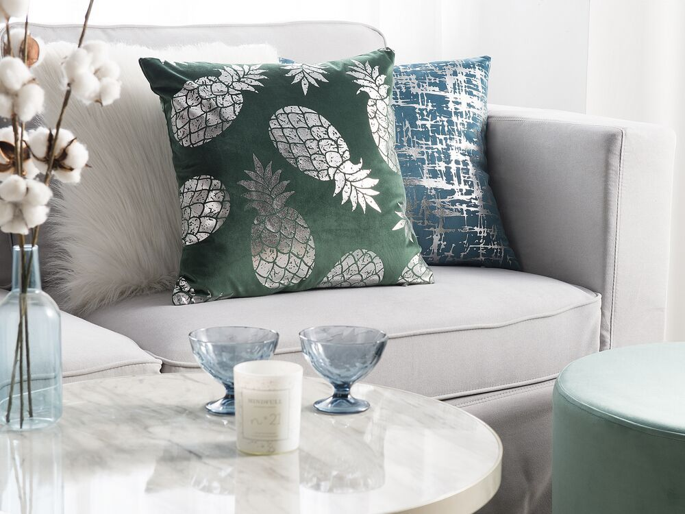 Cuscini 45 X 45.Cuscino Decorativo Motivo Ananas 45 X 45 Cm Velluto Verde Astilbe