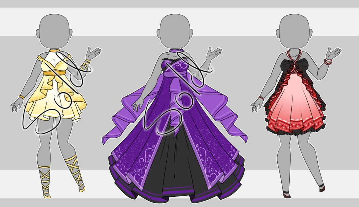 Dress Adopt Set 3 1 3 Open By Violetaether Deviantart Com On Deviantart Drawing Anime Clothes Animated Clothes Art Clothes