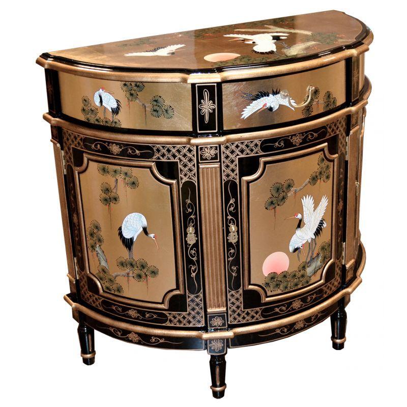 chinois du0027entrée laqué demi lune - meuble chinois laqué - comment peindre un meuble laque