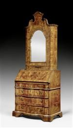 """*BUREAU CABINET, known as a """"trumeau,"""" Baroque, Veneto 18th century.   Molded walnut and burlwood in veneer. Hinged writing surface above commode lower section with 3 drawers. Partly replaced, fitted interior with central door flanked on each side by 1 drawer below compartment. Secret compartment. The recessed upper section with one door with mirror. Bronze mounts and drop handles. Some losses. 88x51x(open 83)x229 cm.   sold  for Swiss Francs 12 000.-"""