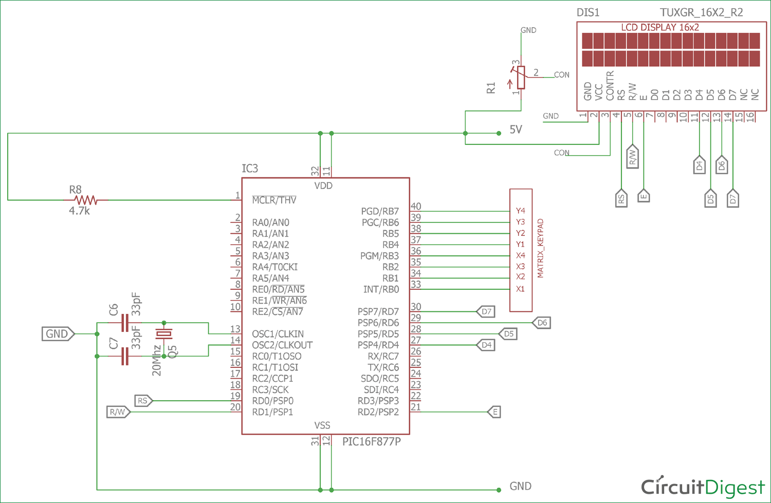 Circuit Diagram 4x4 Matrix Keypad Wiring Library Digital Code Lock Project Using 8051 Microcontroller At89c51 With Interfacing Pic
