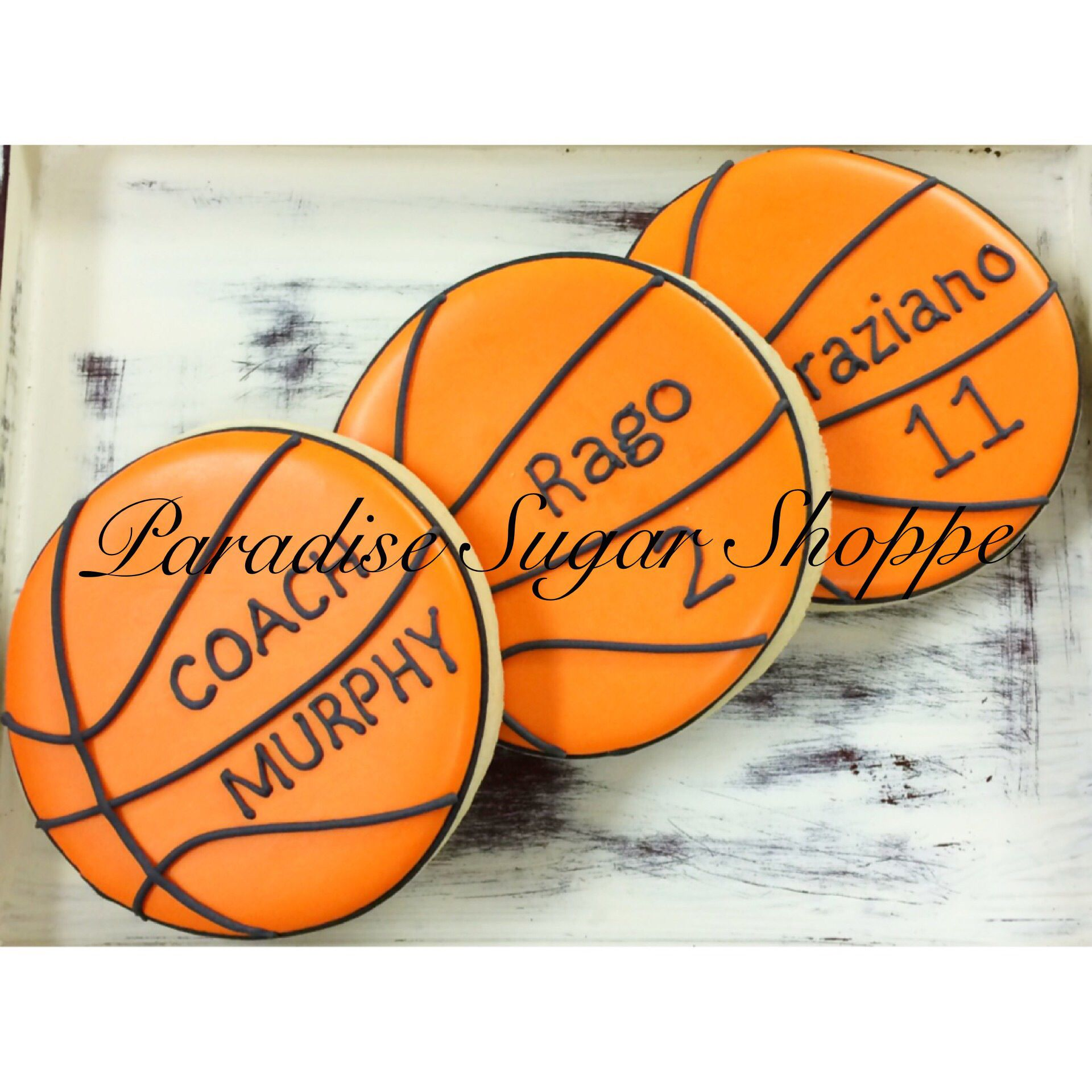 Basketball decorated cookies by paradise sugar shoppe