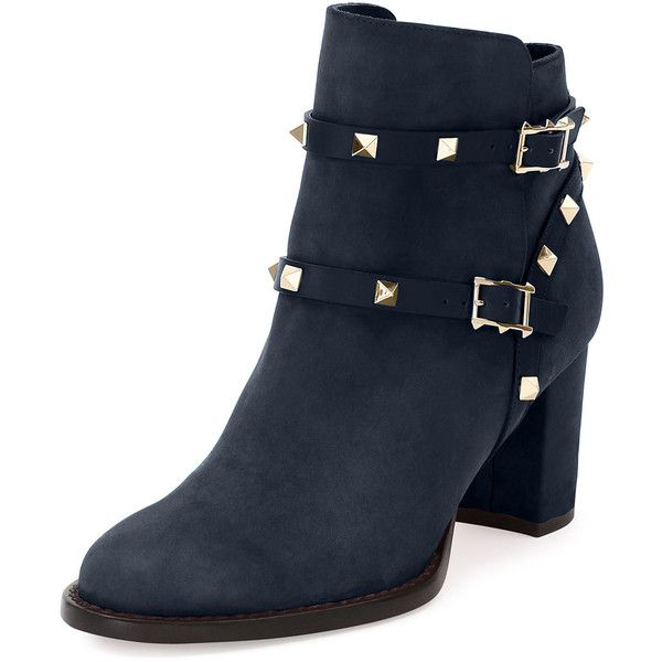 Valentino Rockstud Suede 70mm Ankle Bootie (1.673.640 COP) ❤ liked on Polyvore featuring shoes, boots, ankle booties, light stone, shoes booties, bootie boots, suede ankle boots, round toe boots, ankle bootie boots and suede boots