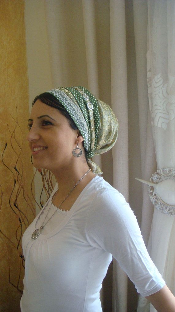 tichel, handmade, in ISRAEL, haircovering, hair, apron, green, hijab ...