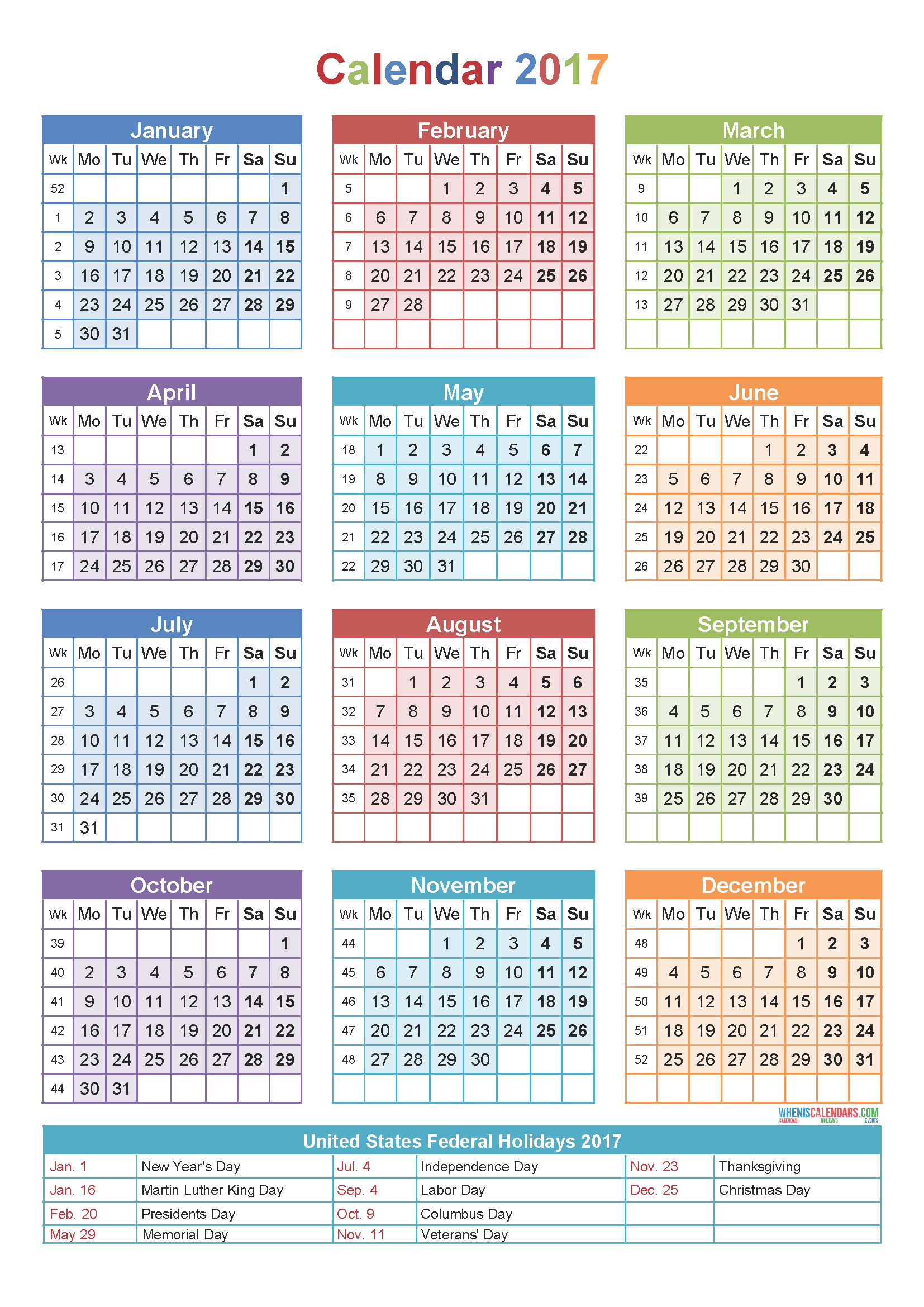 2017 Printable Yearly Calendars With Holidays | Yearly Calendar 2017 With  Holidays Printable Template