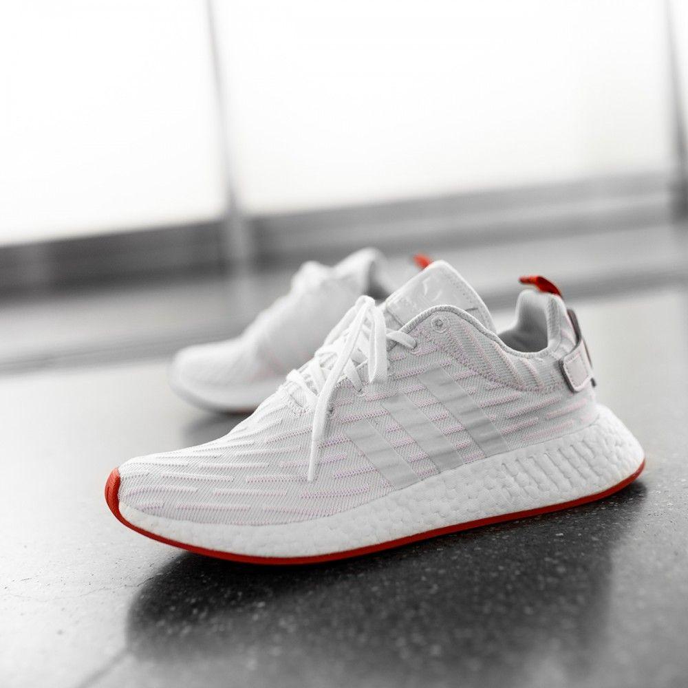 Adidas NMD_R2 Primeknit Running White Core Red | Da