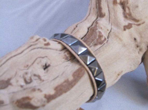 Handmade Leatherwrapped Dark Silver Stud Bracelet by socalledbrent, $15.00