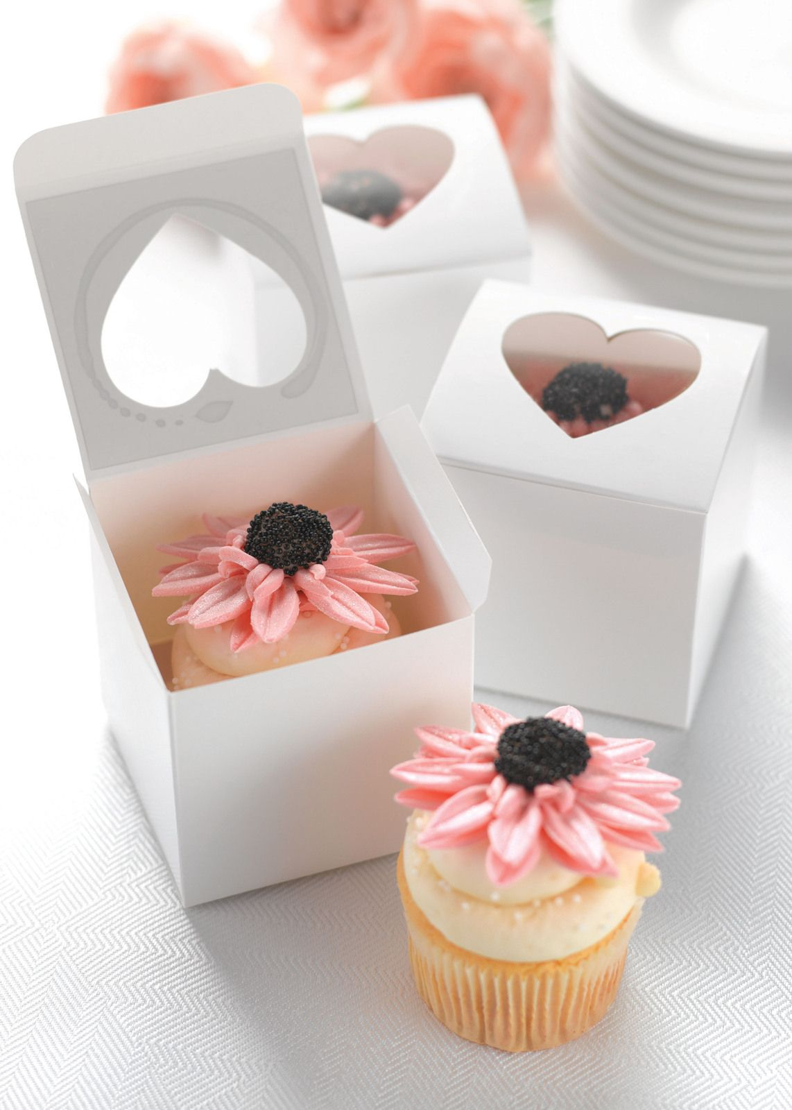 Cupcake boxes with heart top pink frosting wedding