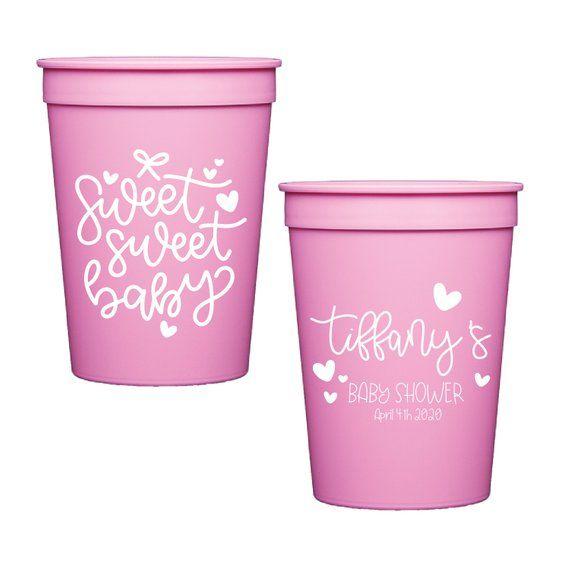c6421e9e480 Sweet Sweet Baby - Baby Shower Personalized Stadium Plastic Cups - Baby  Shower Stadium Cups - Showe