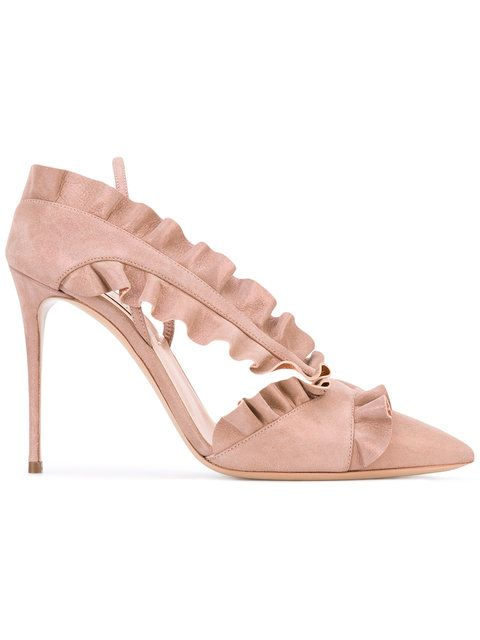 New Trendy Casadei Ruffled Pink Pumps For Women Online Sale