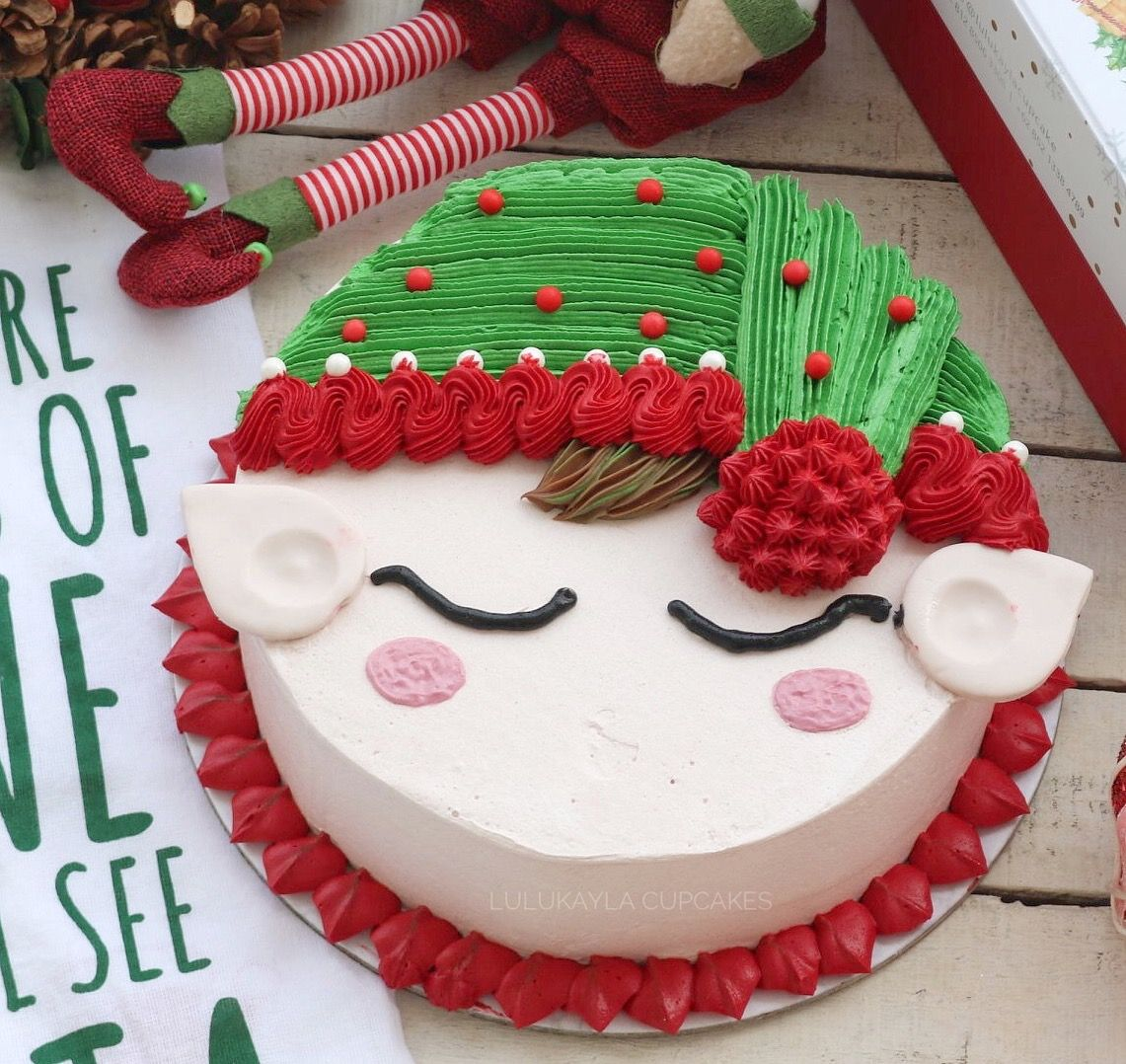 Christmas Cake Decorating Ideas With Buttercream.Elf Buttercream Cake Cakes Christmas Cake Designs