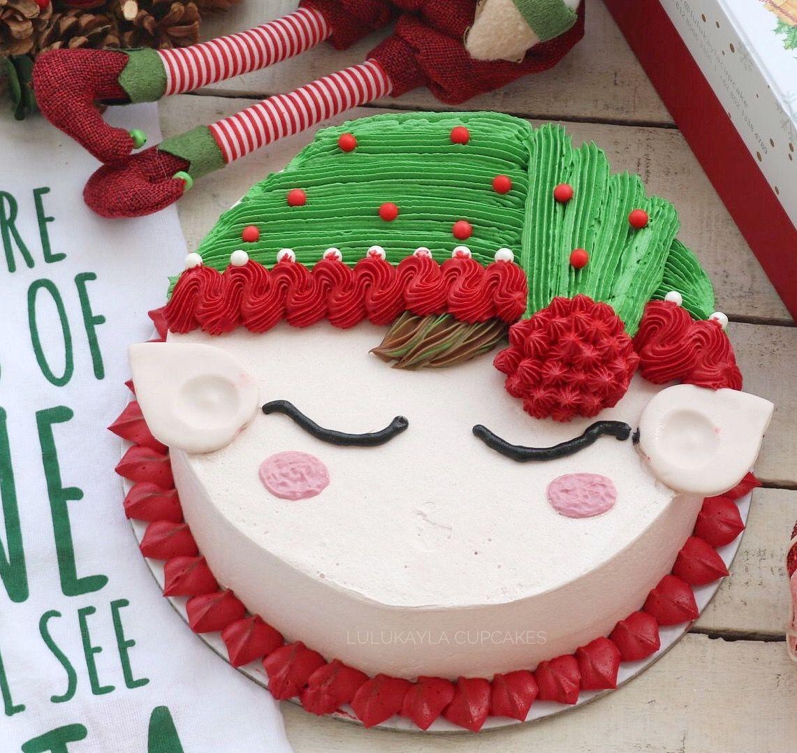 Elf buttercream cake Christmas cake designs