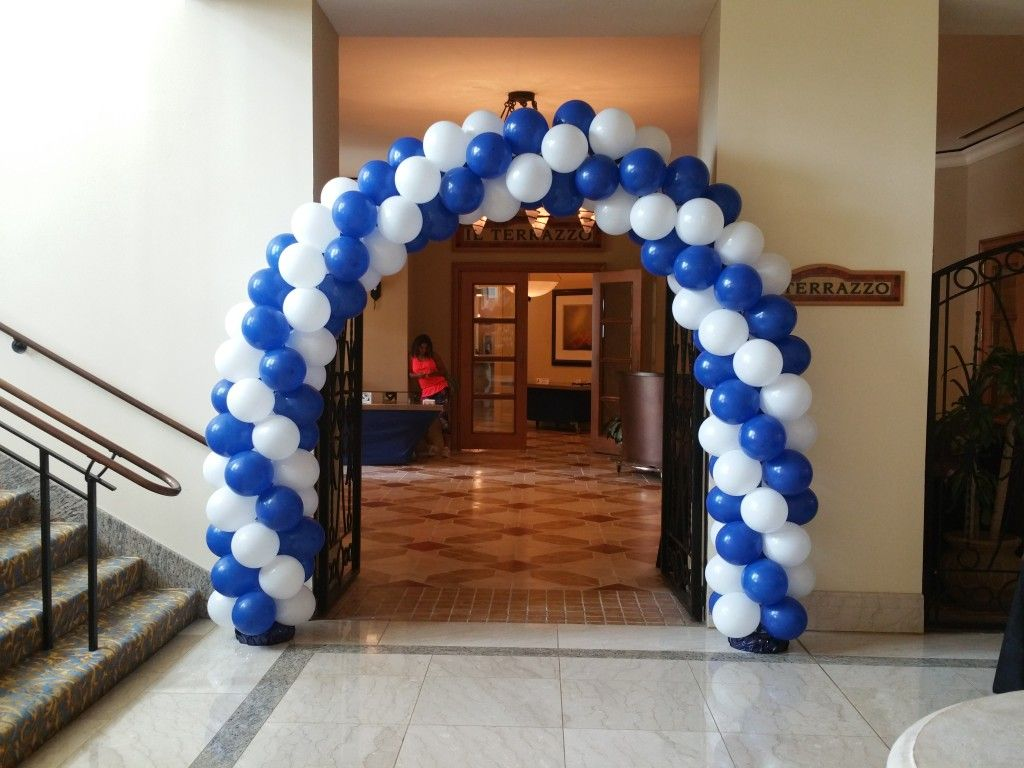 Marriott Balloon Arch with Blue and White
