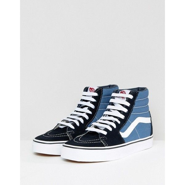 0bf68a0dadc5 Vans Classic Sk8 Hi Trainers In Blue And Black ( 99) ❤ liked on Polyvore  featuring shoes