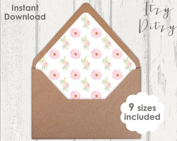 Printable Envelope Liner Template Pink Rose Blush Wedding Envelope