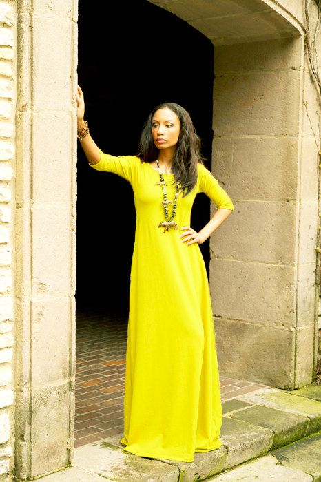 Canary Yellow 3/4 Sleeve Maxi Dress by Dimiloc on Etsy