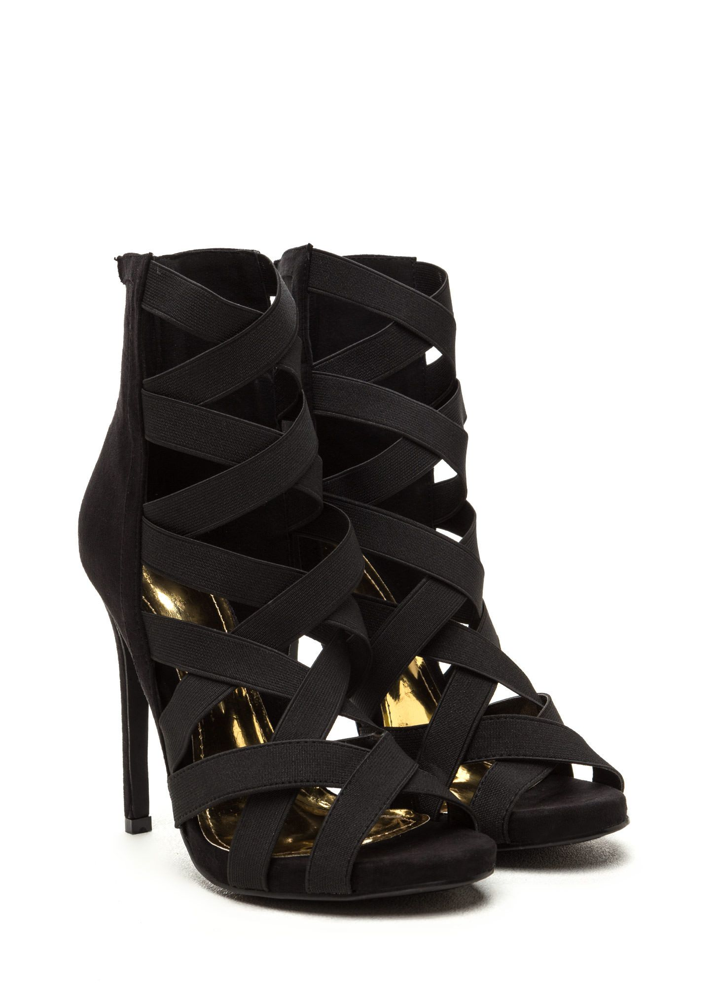 Night Life Caged Faux Suede Heels BLACK OLIVE BLUE RED TAUPE - GoJane.com  Fekete 8bb0501ada