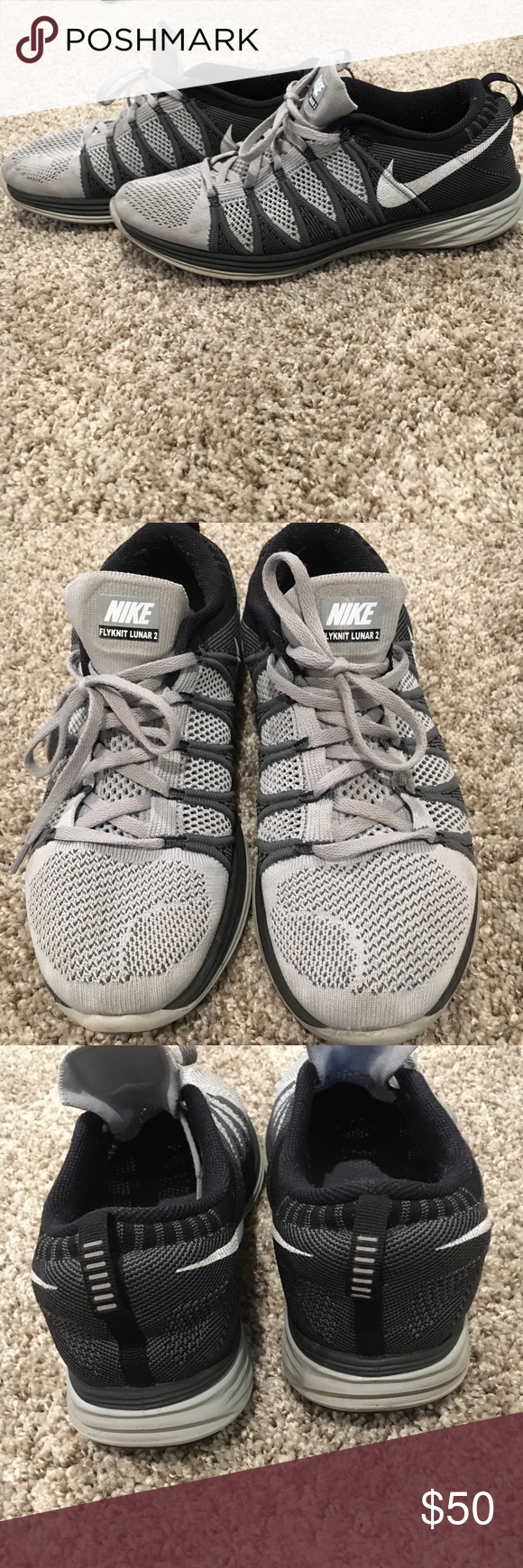 40d1051c2e02b Men s Size 9 Nike Flyknit Lunar 2 Grey Men s Nike Flyknit Lunar 2 Size 9  Light