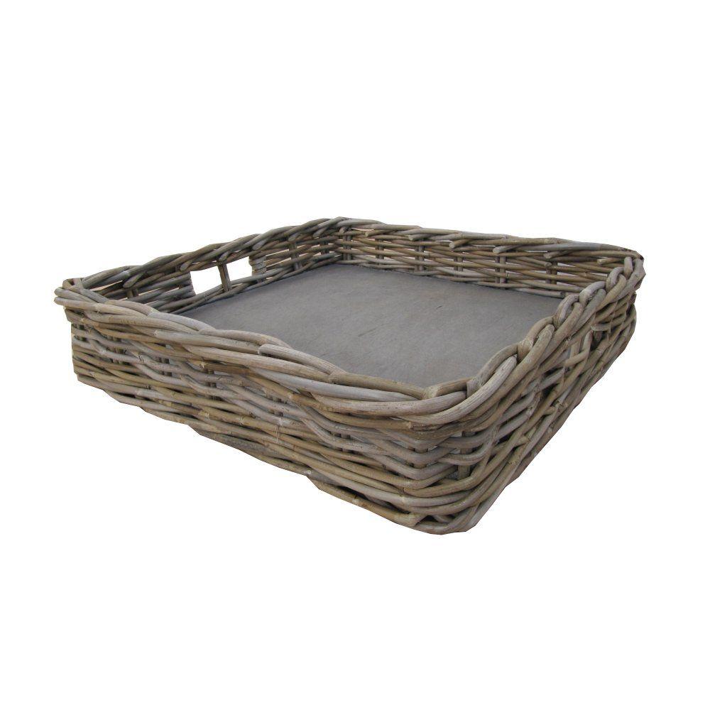 Wicker storage basket home storage baskets melbury rectangular wicker - Grey Buff Rattan Large Wicker Square Tray